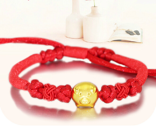 Pure Hand woven String 999 3D 24K Yellow gold Pig Bracelet wooden breads hand woven wrap bracelet