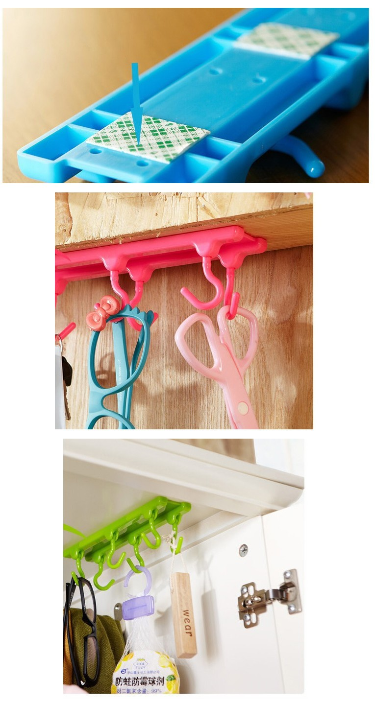 4 Color Kitchen Cabinet Wall Cabinet Hook Kitchen Storage Strong Sticky Hooks Up Wall Rails Free shipping U0543 1