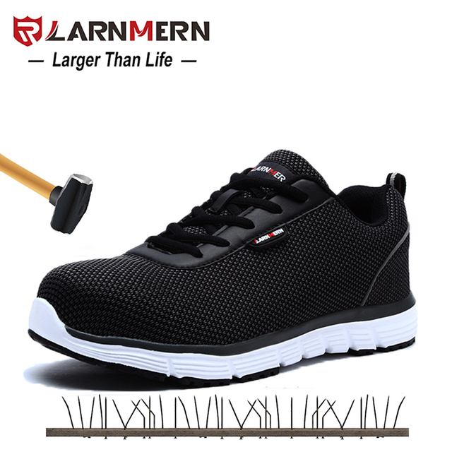 0815570c923 US $38.66 49% OFF|Aliexpress.com : Buy LARNMERN Mens Steel Toe Safety Work  Shoes For Men Flyknit Lightweight Breathable Anti smashing Non slip ...