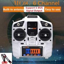 Mickit transmissor mc6c 2.4g 6ch, controlador de transmissor e receptor de rádio para avião rc, drone multirotor, helicóptero, carro, barco