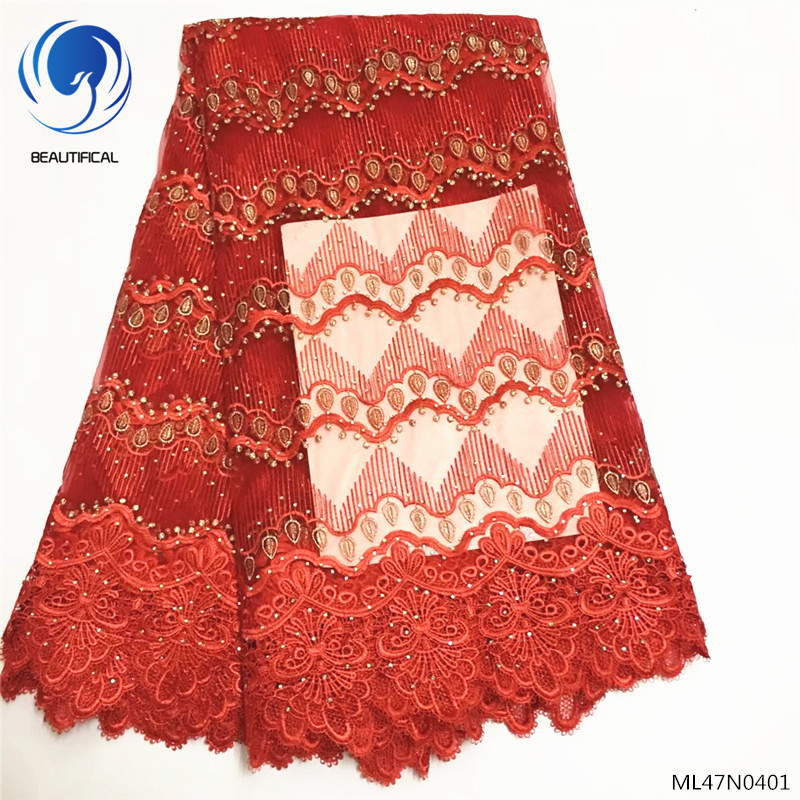 BEAUTIFICAL lace fabric tulle wedding fabric lace fabrics red embroidery with cord guipure lace fabric 5yards/lot ML47N04