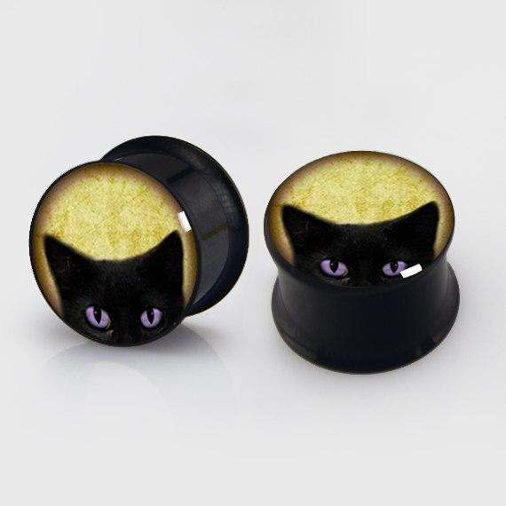 2 pieces black cat plugs anodized black ear plug gauges steel flesh tunnel body piercing jewelry 1 pair