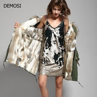 2018 Womens Real Raccoon Fur Collar Hooded Warm Rabbit Fur Lining Overcoats Parka Winter Long Coat