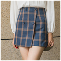 2017 Spring Classic Button Plaid Skirts Tutu Woolen Lattice High Waist Skirt England Style For Lining Pleated Plaid Ladies Skirt