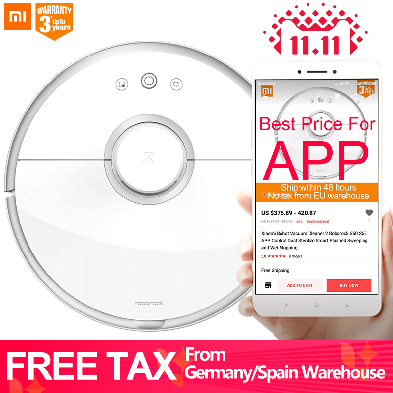 Xiaomi Robot Vacuum Cleaner 2 Roborock S50 S55 APP Control Dust Sterilize Smart Planned Sweeping and Wet Mopping цена и фото