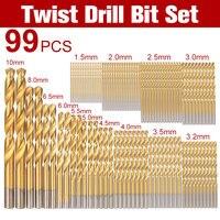 99pcs HSS Titanium Coated Twist Drill Bit Set 1 5 10mm Twist Drills Bits Kit With
