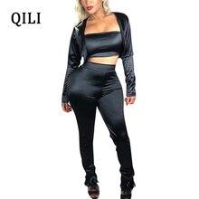 QILI 3 Piece Set Women Jumpsuits Fashion Casual Overalls Womens Black Jumpsuit Small suit+Tube top+pants New Autumn Wear