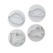 4 шт. пластиковая упаковка для печенья ножи для тортов формы для помадки формы для печенья самолет автомобиль поезд корабль формы HYD88