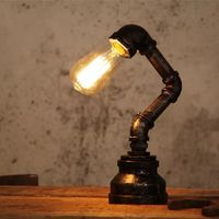 Creative Iron Lamp Water Pipe Lighting UK 3 Pin 2 Pin Euro Industrial Desk Lamps E27 Base Holder for Bedroom Light