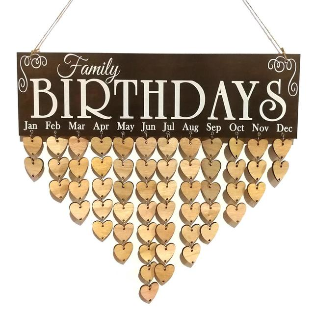 Diy Wooden Colorful Family Birthday Calendar Hanging Decoration Gift