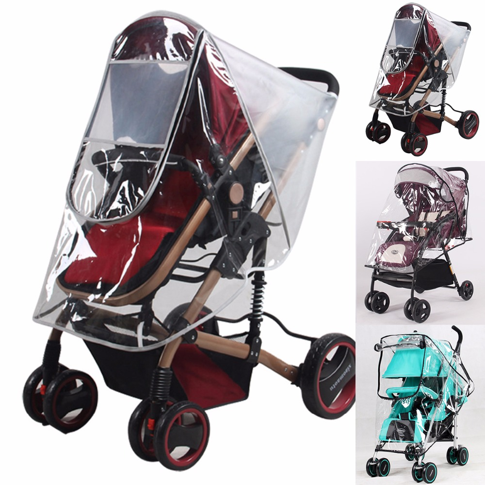 Clear Pram Baby Stroller Carriage Rain Cover//Mosquito//Wind//Dust Cover w//Zip