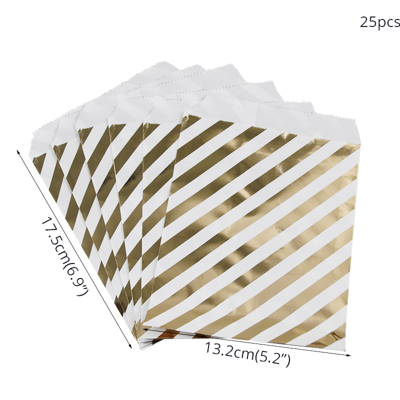 Image 5 - WEIGAO 25Pcs Gold Dot Striped Star Gift Bag Paper Bags for Kids Birthday Party Decoration Dessert Candy Bar Bag Snack Cookie Bag-in Gift Bags & Wrapping Supplies from Home & Garden