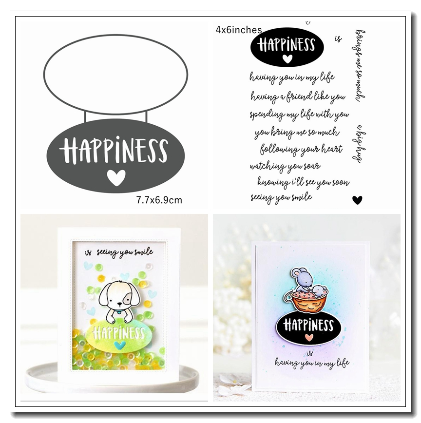 Happyness Letter Tags Metal Cutting Dies&Stamp Sillicone Stencil Scrapbook Album Embossing For Paper Card Making Handcrafts