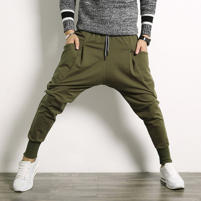 Baggy Sweatpants Harem Drop-Crotch Sagging Trousres Plus-Size Fashion Male Autumn Drawstring