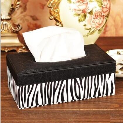 fashion rectangle leather wooden tissue box tissue holder square napkin box for home decoration PZJH006
