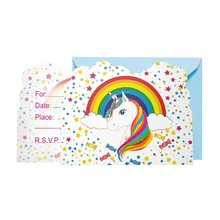 6pcs/lot Hot New Invitation Card Rainbow Stars Unicorn Party Decoration Kids Festival Supplies