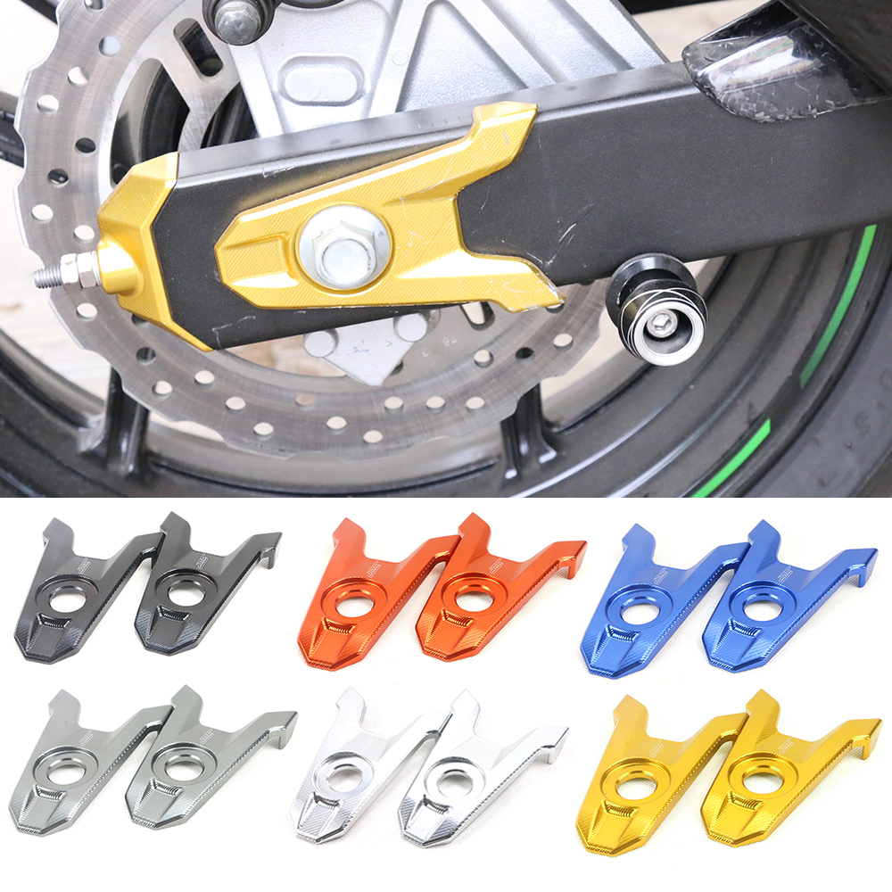 Motorcycle Accessories CNC Aluminum Rear Axle Spindle Chain Adjuster Blocks For Kawasaki Z800 2013 2014 2015 2016 3 color