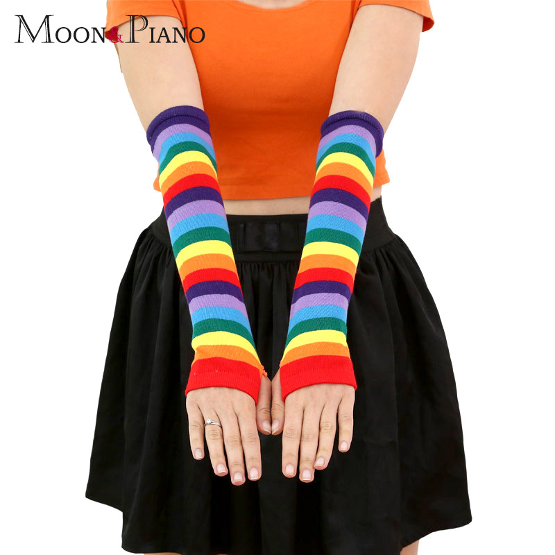 Autumn Women's Knit Elbow Length Straight Warm Winter Women Long Glove Fashion Girls Rainbow Fingers Long Striped Gloves Gifts