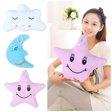 New Baby/Adult Moon Star Cloud Shape Emoticon Short Plush Throw Pillow Nap Pillow Cute Dolls Pendant(China)
