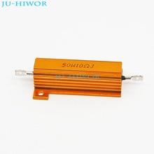 (2pcs/lot) RX24 10 Ohm 10R 50W 50Watts Aluminium Housed High Power Resistor Metal Shell Heatsink Resistor 10ohm Resistance