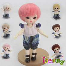 High Quality 1/8 Dolls Hair Heat Resistant Fiber Brown Khaki Pink Bob Wigs Only Wigs цена