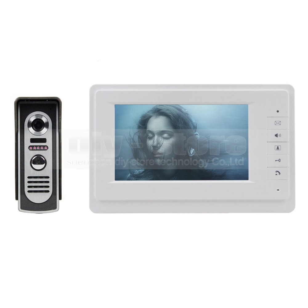 DIYSECUR 600TVLine Camera 7 inch TFT Color LCD Display Video Door Phone Intercom Doorbell Night Vision diysecur 1024 x 600 7 inch hd tft lcd monitor video door phone video intercom doorbell 300000 pixels night vision camera rfid