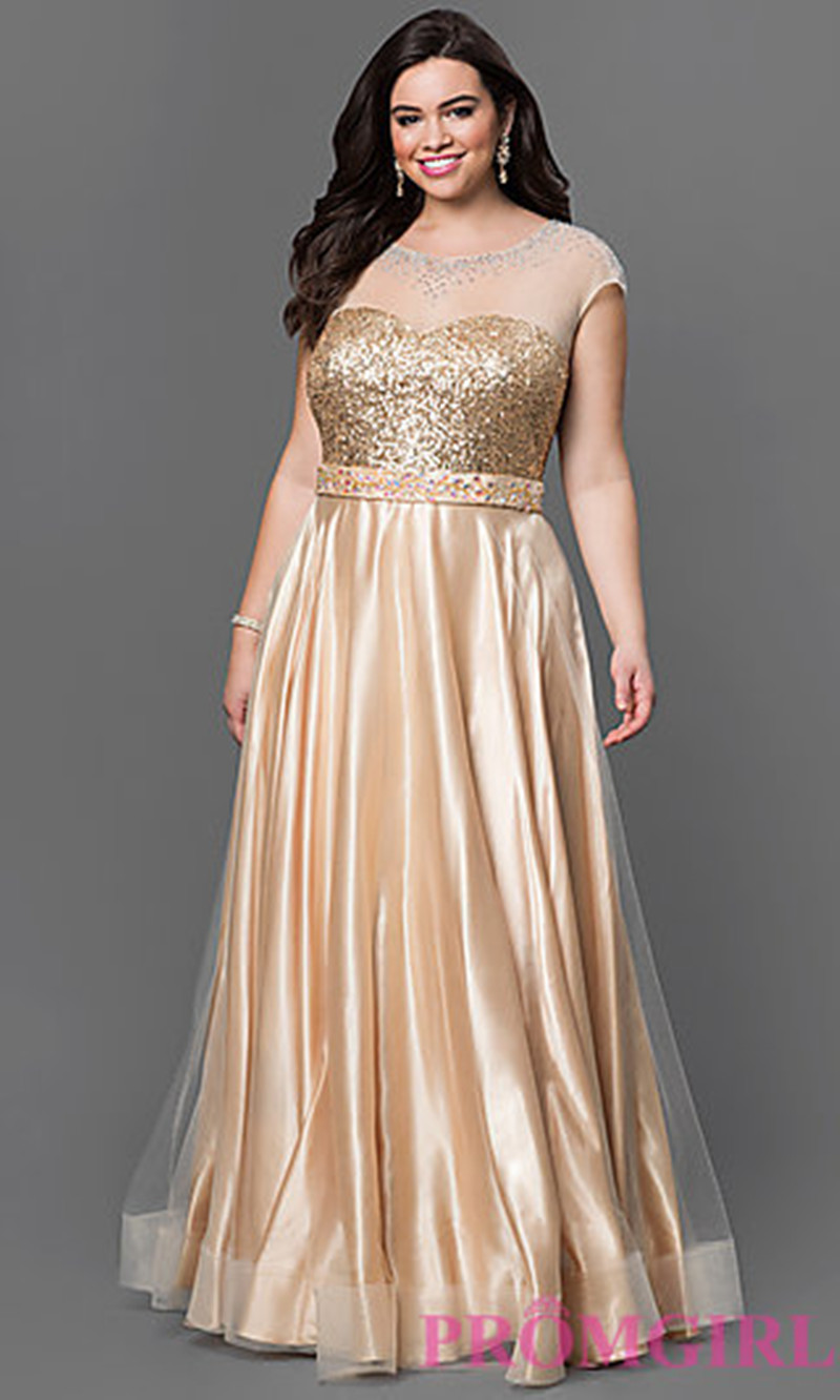Gold plus size evening dresses 2017 scoop sheer neck for Wedding party dress up