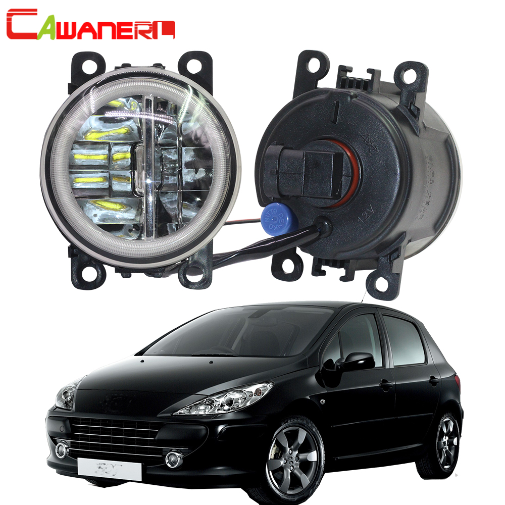 Cawanerl Pour Peugeot 307 2002-2008 Car Styling 4000LM LED Ampoule H11 Brouillard Lumière + Angel Eye DRL running Light 12 v 2 pièces