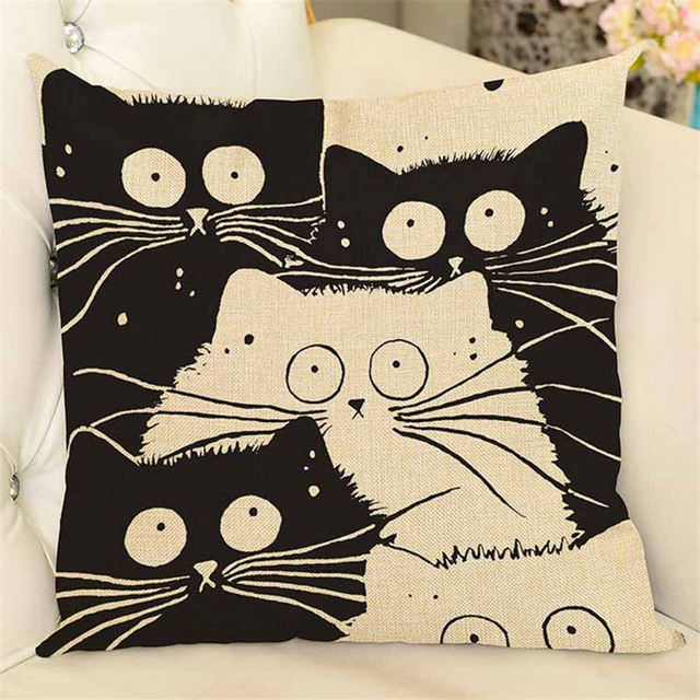 Funny Cartoon Cat Patterned Linen Pillow Case