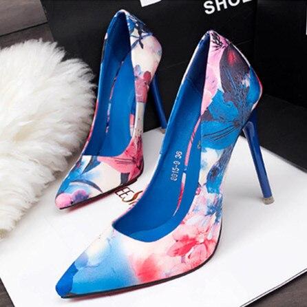 2017 Mujeres de la Marca Sexy Bombas de Flores Hermosas Mujeres OL Zapatos de Tacones Altos Zapatos de Punta estrecha de Alta Calidad X1106 35