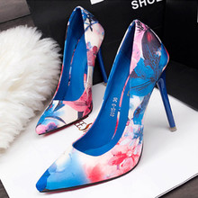 2017 Sexy Brand Women Pumps Beautiful Floral Women OL High Heels Shoes Pointed Toe High Quality Shoes X1106 35