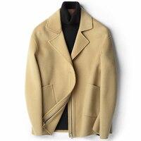 YOLANFAIRY Double Sided Cashmere Warm Jacket Autumn Winter 2018 Top Quality Men Coat Wool Luxury Coats casaca para hombre MF633