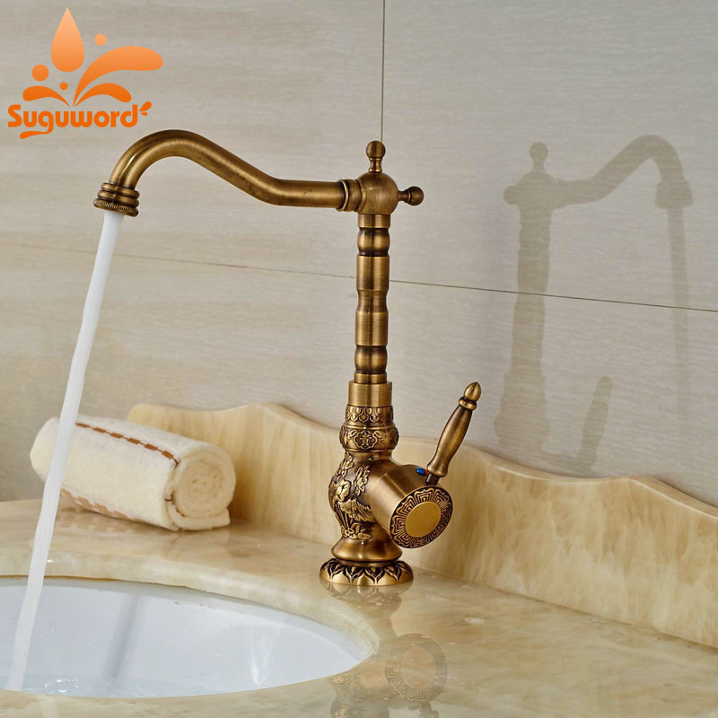все цены на Widespread Antique Brass Bathroom Sink Faucet Mixer Tap Single Handle One Hole Swivel Spout Tap онлайн