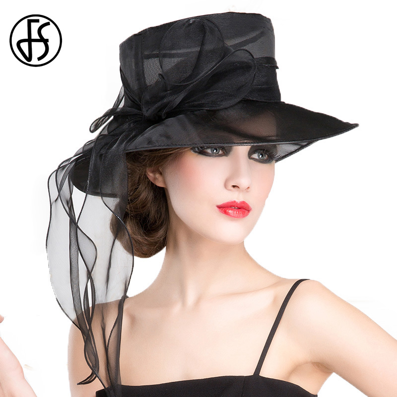 30b8899a13c FS Black White Church Organza Wedding Dress Fedora Hat For Women Bowknot Large  Brim Summer Boater Kentucky Derby Hats-in Fedoras from Apparel Accessories  on ...