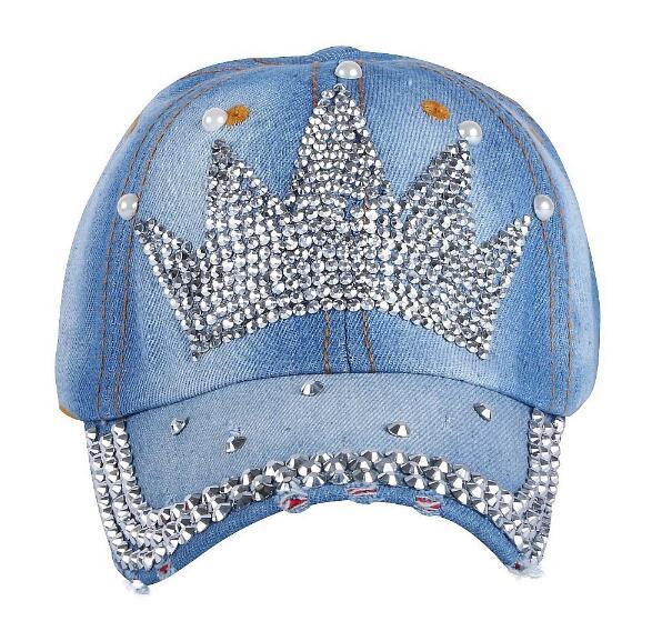 Women crystal crown denim baseball cap summer pearl cap cora wang king crown baseball cap women