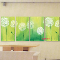 Handmade 4 Panel Dandelion Wall Painting Modern Green Landscape Home Decor Picture Painted On Canvas Group Of Picture Art