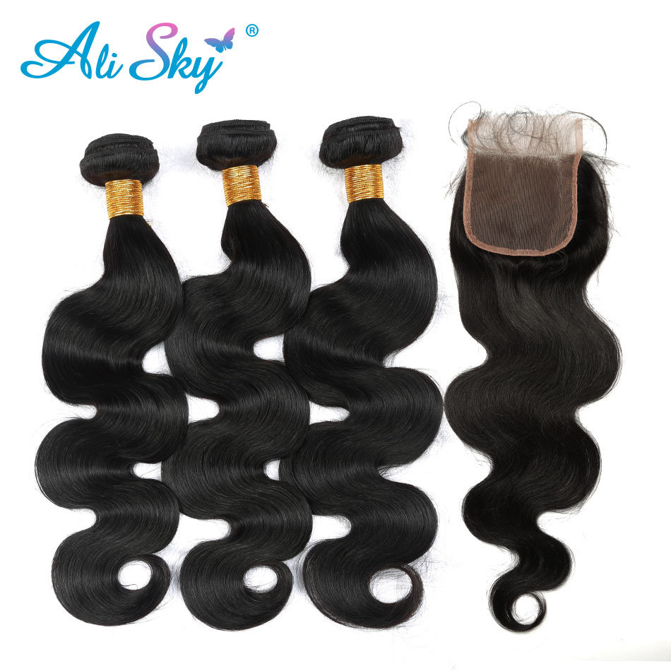 ali Sky non Remy 2019 New Fashion Style Online Peruvian Body Wave 3 Bundles With Lace Closure 4x4 Pre Plucked With Baby Hair 100% Human Hair Freeshipping