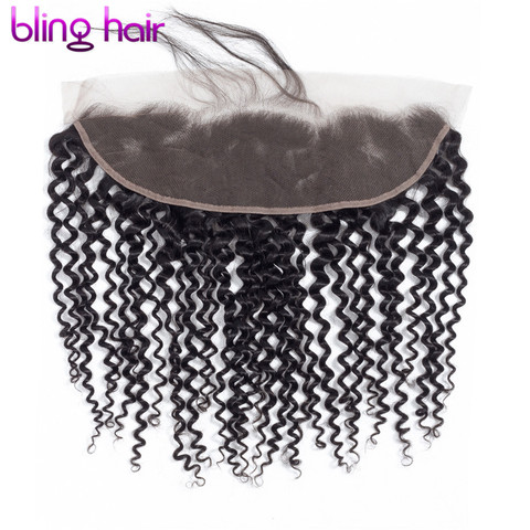 """Bling Hair Brazilian Kinky Curly Hair 13*4 Lace Frontal Closure With Baby Hair 100% Remy Human Hair Closure Natural Color 8""""-22"""" Pakistan"""