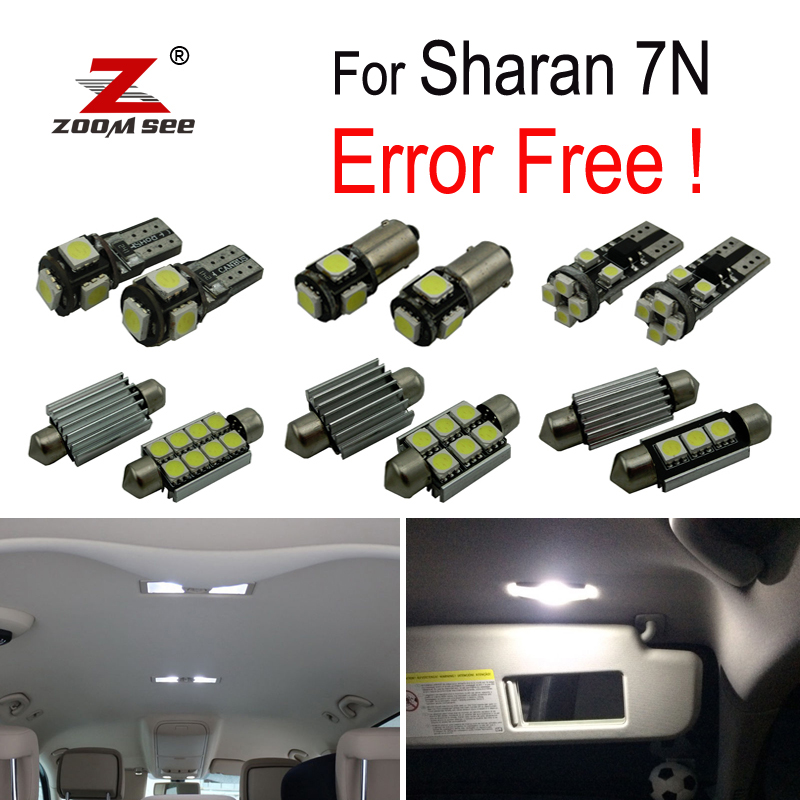 17pcs LED license plate lamp + Decoder for Volkswagen for Sharan 7N (2011-2018) LED bulb interior light full kit package buildreamen2 car 5630 chip led bulb white interior led kit package map dome trunk license plate light for ford focus 2008 2011