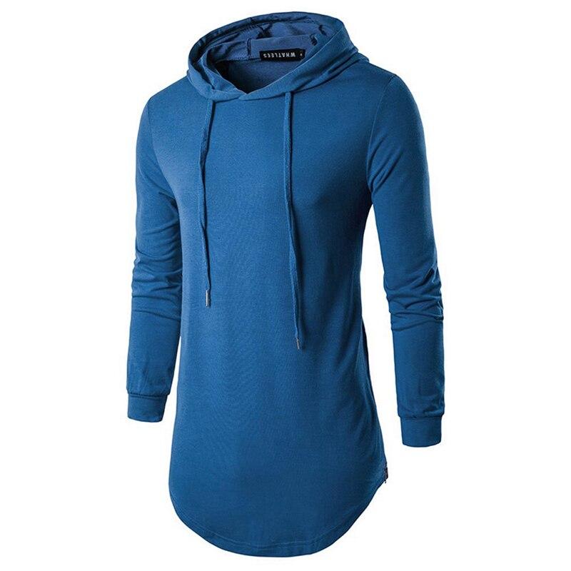 Newest Men Hoodies Blue Solid Warm Winter Long-sleeve Side Slide Fastener Hooded Hoodies High Quality