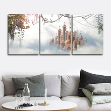 Laeacco Canvas Calligraphy Painting Nordic Fairy Tale Dreamy Castle Posters and Prints Wall Art Living Room Home Decor