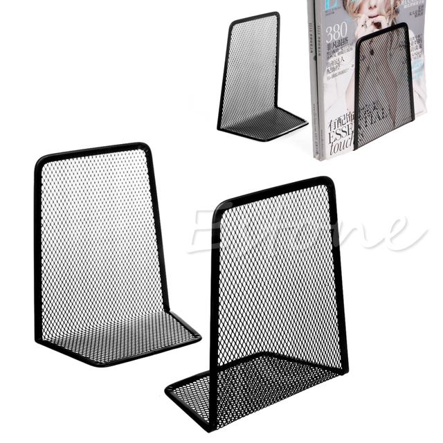 1 Pair Metal Mesh Desk Organizer Desktop Office Accessories Home Book  Holder Bookends Black W15