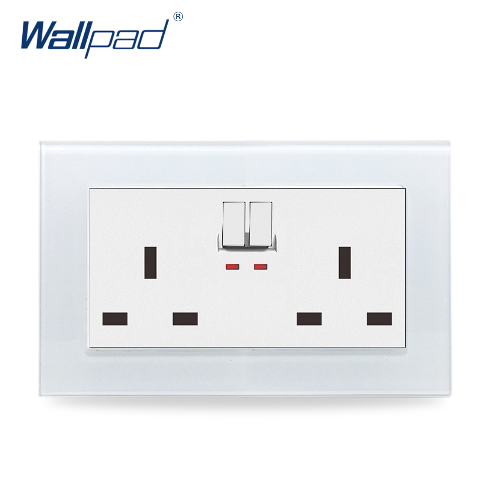 146 Double 13A UK Switched Socket Wallpad Crystal Glass Panel 110V-250V 146*86mm UK Standard Wall Socket Plug Power Outlet