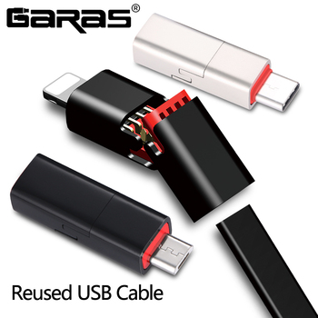 GARAS USB Cable For LightningMicro USBType C 3A Fast Charger Data Cable For iPhoneiPadXiaomiHuaweiSamsung Reused USB Cable adapter