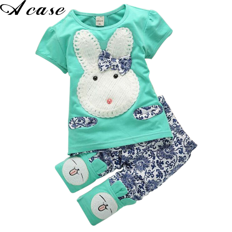 New Hot Sale 2pcs Baby Kids Top + Short Pants Summer Sets Floral Clothes Cute Rabbit Girls Outfits Pink Green Size 1 2 3 4 Years hot sale baby outfits coverall casual