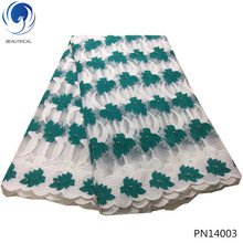 BEAUTIFICAL teal green african wedding net lace fabrics for clothing mesh styles wholesale hot sales 5yard PN140