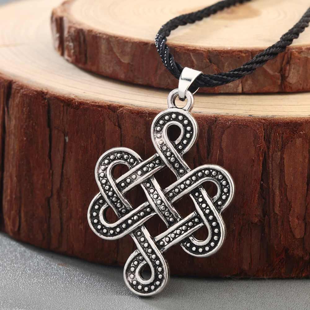 Chengxun Pria Celtic Simpul Irlandia Kalung Liontin Norse Tak Terbatas Simpul Viking Slavia Skandinavia Liontin Amulet Nordic Jimat