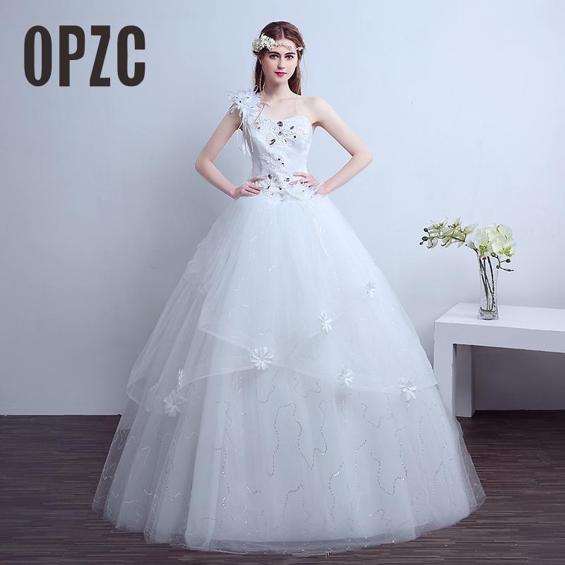 Cheap Customized Korean Plus Size One Shoulder Flower Vintage Wedding Dress 2020 vestido de noiva Fashion Bridal Gown Dresses