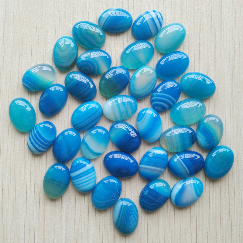 2017 Fashion good quality natural blue stripe Onyx Oval CAB CABOCHON 13x18mm beads for jewelry making wholesale 50pcs/lot free