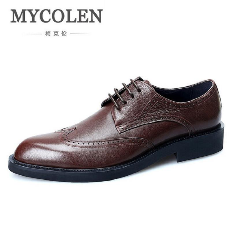 MYCOLEN Brand Formal Dress Men Shoes Genuine Leather Brogue Italian Classic Office Wedding Mens Casual Oxford Sepatu Pria hot sale italian style men s flats shoes luxury brand business dress crocodile embossed genuine leather wedding oxford shoes